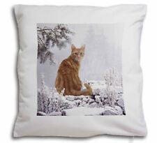 Ginger Winter Snow Cat Soft Velvet Feel Cushion Cover With Inner Pill, AC-63-CPW