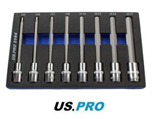 """8pc 1/2"""" Long HEX Socket / Allen Key Bit Set 140mm 5 - 17mm NEW By US PRO 2084"""