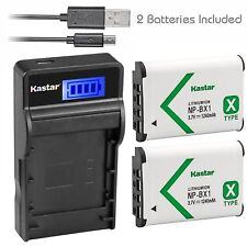 Kastar 2 Battery & LCD-3 USB Charger for Sony NP-BX1 X-SERIES NPBX1/M8