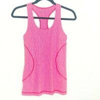 Zella Small Pink & White Tiny Stripe Racerback Workout Top