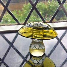 FUNGO di Murano art glass paperweight Green & Clear HAND MADE soffiata vintage