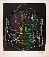 Ladislas Kijno Lithographie signée Papier Froissé Rehaussé Art Abstrait Bouddha