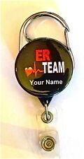 ER TEAM CARABINER ID BADGE HOLDER, RETRACTABLE REEL, KEYS, NURSE, DOCTOR, TECH,