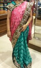 New Indian Designer Half And Half Green Pink Saree Sari With Stitched Blouse