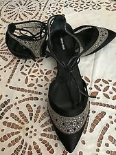 Giorgio Armani Black Pointy - Toe Flat Leather Shoes Embellished With Crystals