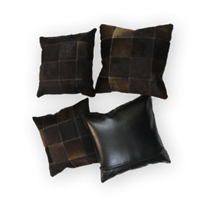 Cowhide Pillow Covers Patchwork brown Black cow cushions leather pillow set of 4