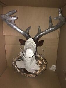 NIB WO Paper Mache Deer Head on Driftwood CBOCS 654/3276 Christmas Decor RUSTIC