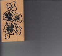 "flower pattern denami design Wood Mounted Rubber Stamp 2 1/2 x 4 1/2"" Free Ship"