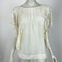 Joie Joyce Top Silk Blend Voile Lace Sleeve Blouse Ivory Scoop Neck Top Women M