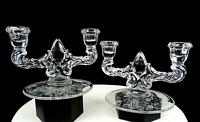 "VIKING NEW MARTINSVILLE PRELUDE ETCH TEARDROP 2 LIGHT 2 PC 8"" CANDLESTICKS 1938-"