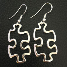Autism Awareness Puzzle Piece Dangle Earrings Silver Women's Gift Girls 3pair