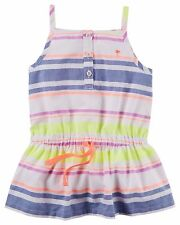 Carter's Girls' Striped Button-Front Tunic W/Cinched Waist & Spaghetti Strap