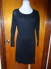 Victoria's Secret Black Sheer Flax Viscose Sweater Dress w/Slip S/P, S M New