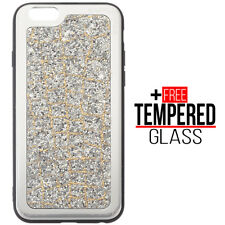 For iPhone 6 Plus 6S Plus Bling Sparkly Shockproof Silicone Case Cover Silver