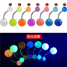 7 PCS New Arrival Glow In The Dark Belly Button Navel Bar Rings Body Piercing