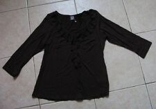 NEW – Brown Stretchy Long Sleeved V-Neck Top with Frill - Size 12 - BNWOT