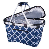 Genuine! D.LINE Shop & Go Insulated Cooler Carry Basket with Lid Moroccan Navy!