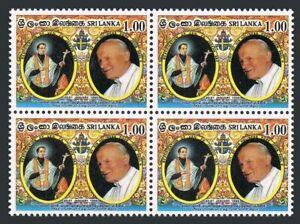 Sri Lanka 1126 block/4,MNH.Michel 1076. Visit of Pope John Paul II,1995.