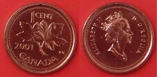 Brilliant Uncirculated 2001 Canada 1 Cent From Mint's Roll