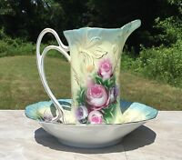 Light Blue & Cream Vintage Floral Porcelain Pitcher & Wash Basin Set