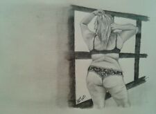 Original 8x10 nude woman pencil drawing done by Instagram artist ARTuro