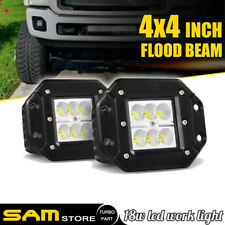 Pair 18W Flood LED bumper push mount fog Light Pods Ford Jeep 4X4 Off-Road ATV
