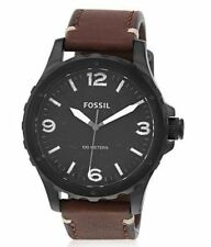 FOSSIL JR1450 Nate Black Stainless Leather Strap Men's Watch NWT  NEEDS BATTERY