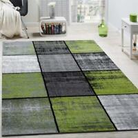 Grey and Green Rug Check Carpet Geometric New Modern Room Area Mat Small X Large