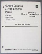 Orig MTD Products Power Vacuum Owners Manual/Parts List Models 246-670A 246-680A