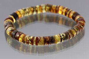 Genuine BALTIC AMBER Button Beads Stretch UNISEX Bracelet 10.2g 210318-12
