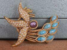 Costume Jewellery Brooch Art Deco Style Purple Faux Pearl Blue stone  5cm