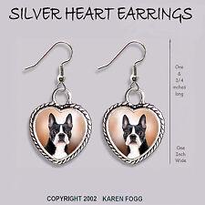 Boston Terrier Dog - Heart Earrings Ornate Tibetan Silver