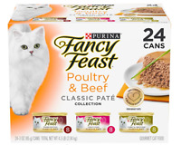 Purina Fancy Feast Grain Free Pate Wet Cat Food Variety Pack, Poultry & Beef Col