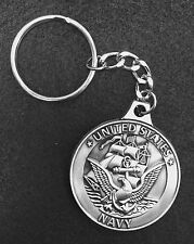 PEWTER US NAVY / USN KEY CHAIN / KEYCHAIN - MAKES WONDERFUL GIFT !