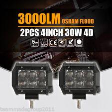 2x 4D 4inch Osram PK Cree 30W LED Work Light Bar Flood Fog Lamp Off Road Driving