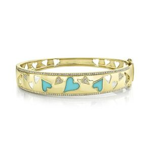 14K Yellow Gold Turquoise Diamond Heart Bangle Bracelet Womens Wide 1.41 TCW