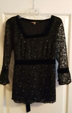 Notations Size XL Black Stretch 3/4 Sleeve Blouse NEW