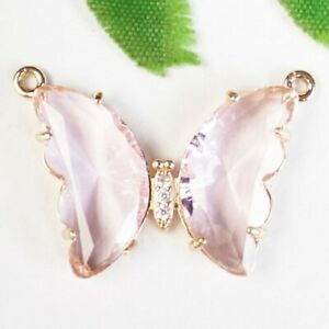 K77657 Wrapped Faceted Pink Crystal Butterfly Connector Pendant Bead