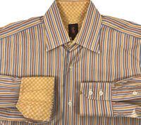 Robert Talbott Chelsea Shirt Yellow Orange Blue White Striped Flip Cuffs 15.5 L