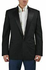 Versace 100% Wolle Schwarz Schneider Hergestellt ein Knopf Smoking Stil Jacke US