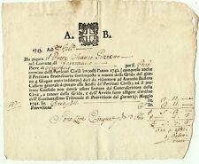 2987-GERENZANO, LOTTO DI 3 RICEVUTE DI PAGAMENTO DEL PRETE MATTEO GUZZETTO, 1743