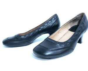Colorado size 7 37.5 French Heel Black Leather Shoes Low Heel