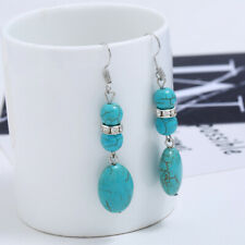 Drop Blue Natural Turquoise Stone Dangle Earring for Women Hook Earrings S