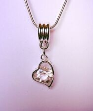 Rhinestone Heart Silver Plated Costume Necklaces & Pendants