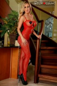 Netz-Catsuit Bodystocking ouvert sexy rot von Provocative Dessous One-Size (S/M)