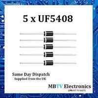 Vishay UF5408 Ultrafast Plastic Rectifiers 1000V 3A 1.7V 150A 150 °C - Pack of 5