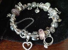 PANDORA BRACELET CHAMILIA 14K GOLD/925 Silver Wedding heart, love, Bride