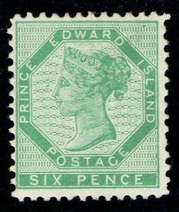 1862 Prince Edward Island 6d Yellow-Green SG17 Fine Mounted Mint Cat. £170.00