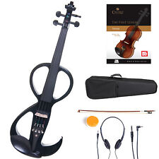 Cecilio Size 4/4 Electric Violin Ebony Fitted ~ Black Style3