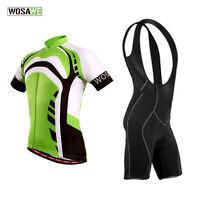 Mens Team Cycling Bike Short Sleeve Clothing Set Suit Jersey+Bib Shorts Skinsuit